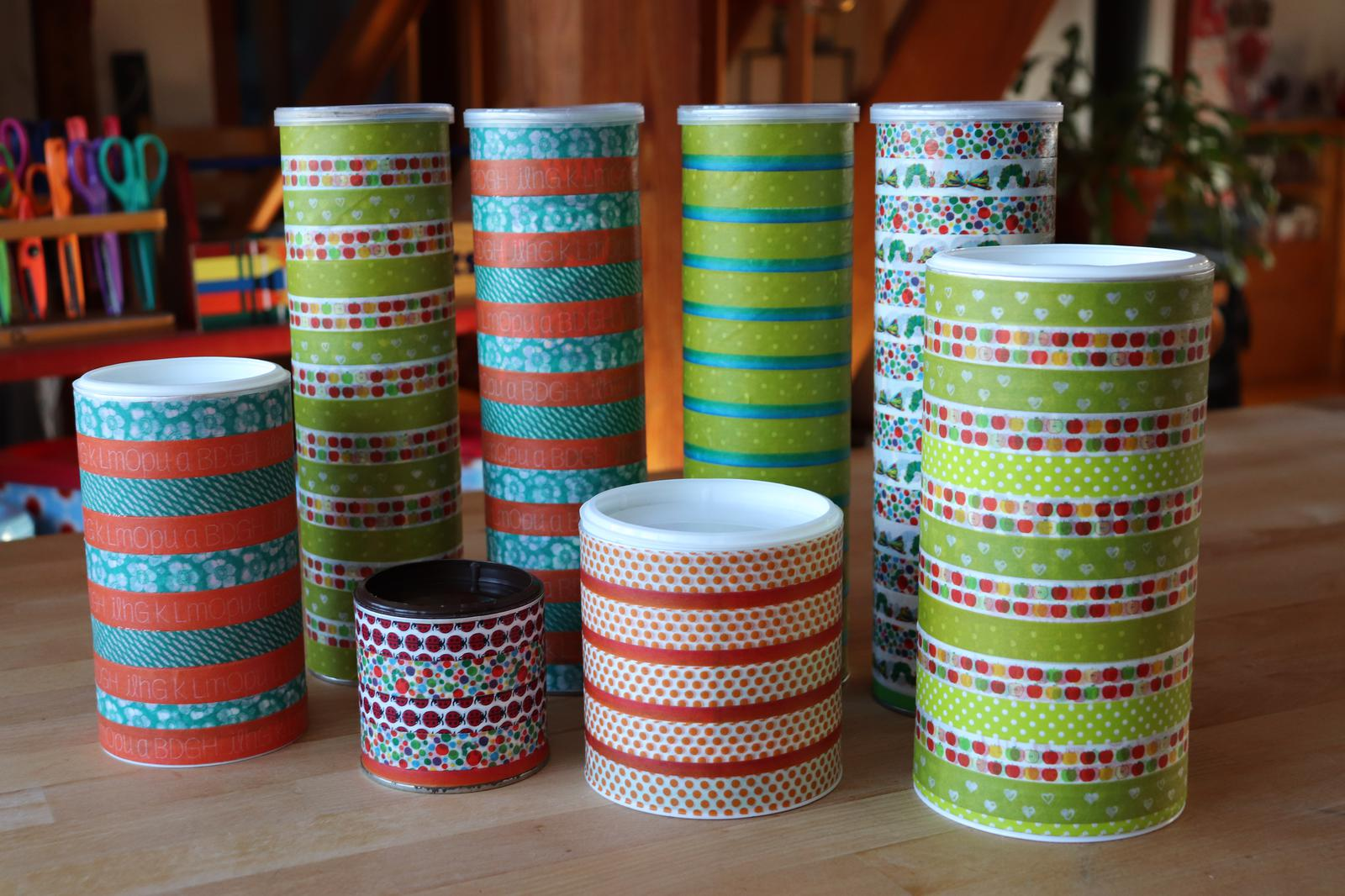 Bunte Dosen|Unverpackt Laden|Unverpackt Einkaufen|Upcycling|Dosen mit Deckel|Pringlesdose|DIY|Washitape|bunte Tesas|Bunte Dosen für den Einkauf im Unverpackt Laden